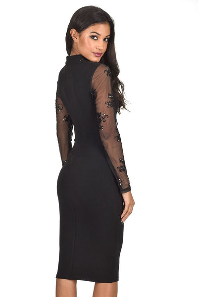 Black Sequin Sleeved Dress