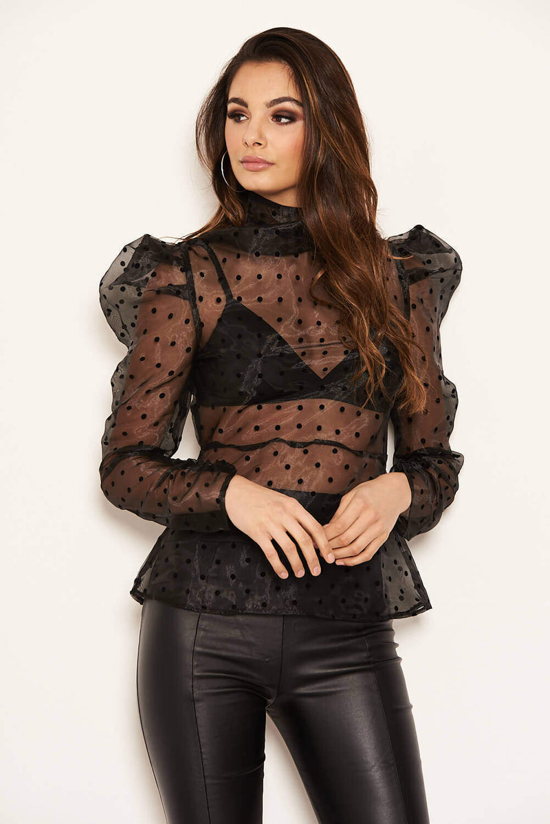 Black Sheer Polka Dot Puff Sleeve Top