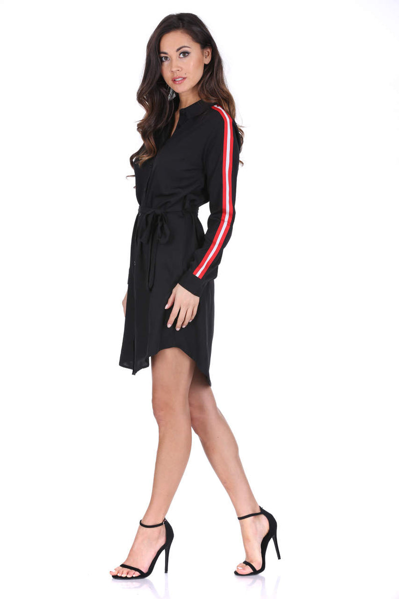 Black Shirt Dress With Stripe Detail And Tie Waist