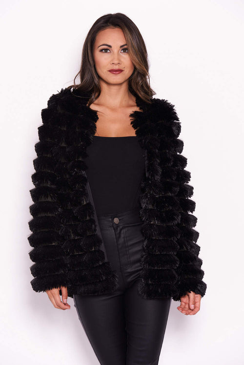 Black Short Faux Fur Coat