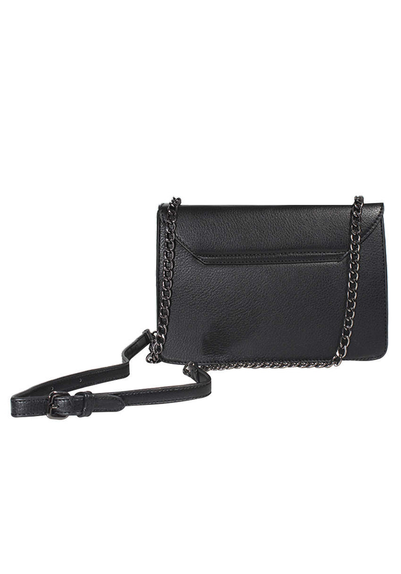 Black Silver Chain Satchel Handbag