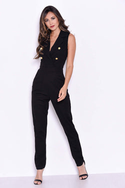 Black Sleeveless Jumpsuit with Military Buttons