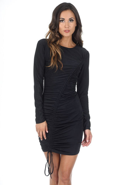 Black Slinky Long Sleeve Ruched Dress