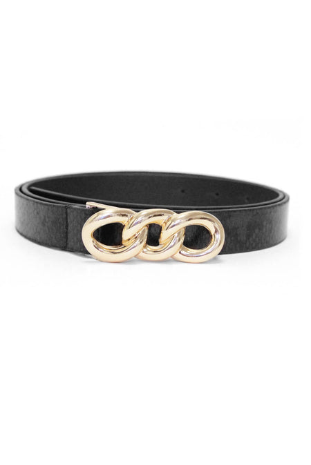 Black Western Style Diamante Buckle Belt