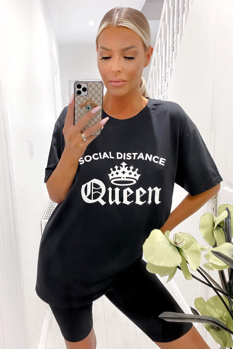 Black Social Distance Queen Tee