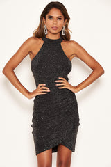 Black Sparkle High Neck Ruched Dress