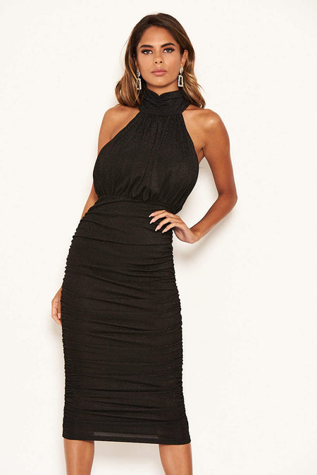 Black Stretch Sequin Deep V Neck Midi Dress