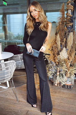Black Sparkle One Sleeve Jumpsuit