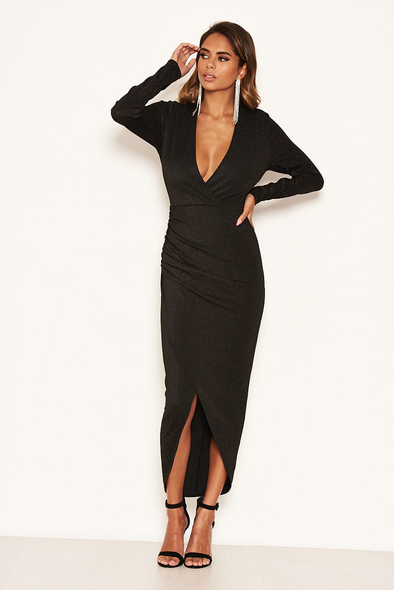 Black Sparkle Ruched Wrap Over Dress