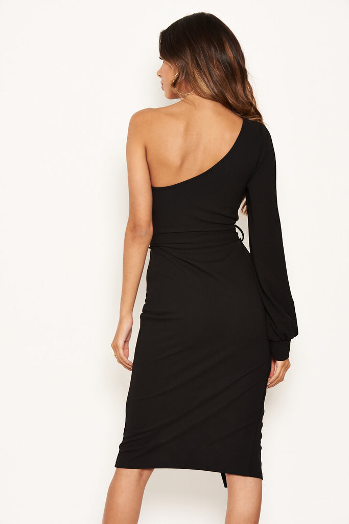 Black Split Sleeve One Shoulder Bodycon Midi Dress