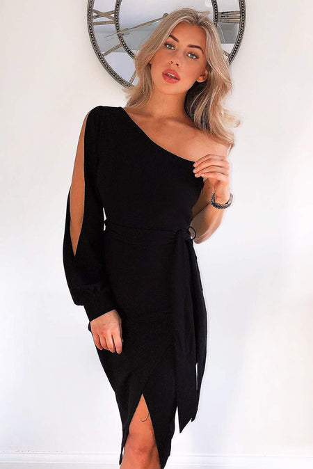 Black One Shoulder Mini Dress With Ruched Detail