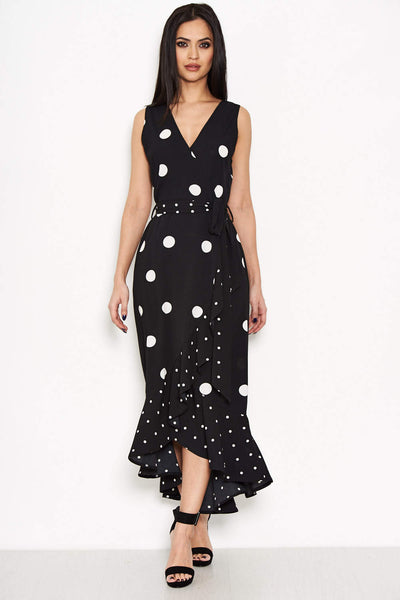Black Spotted Asymmetrical  Dress