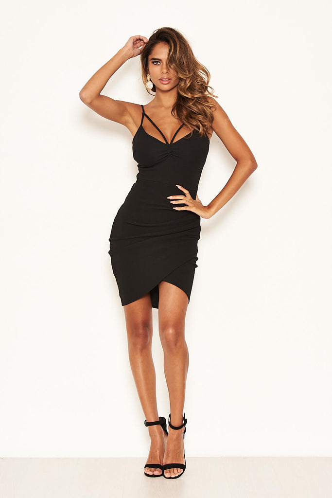 Black Strappy Ruched Bodycon Dress
