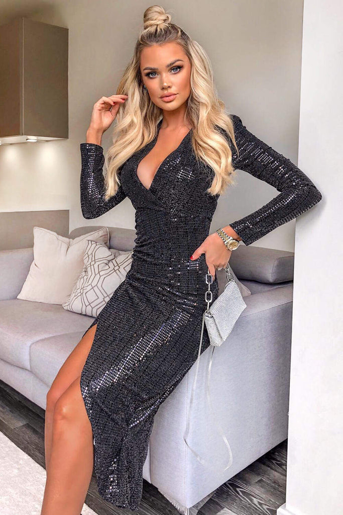 Black Stretch Sequin Wrap Dress