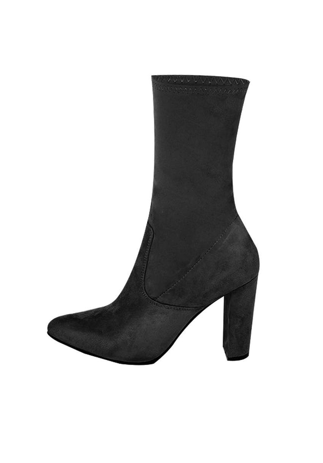 Black Stretch Suede Boot Heels