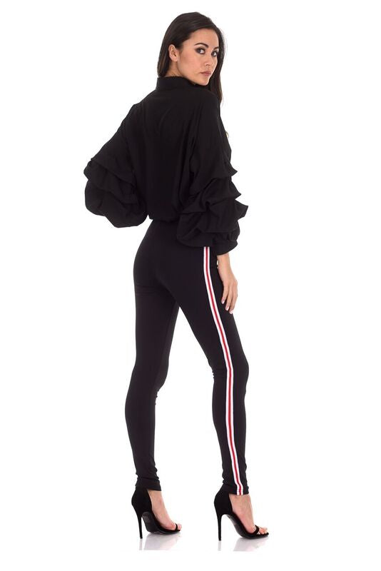 Black Stripe Detail Jersey Leggings