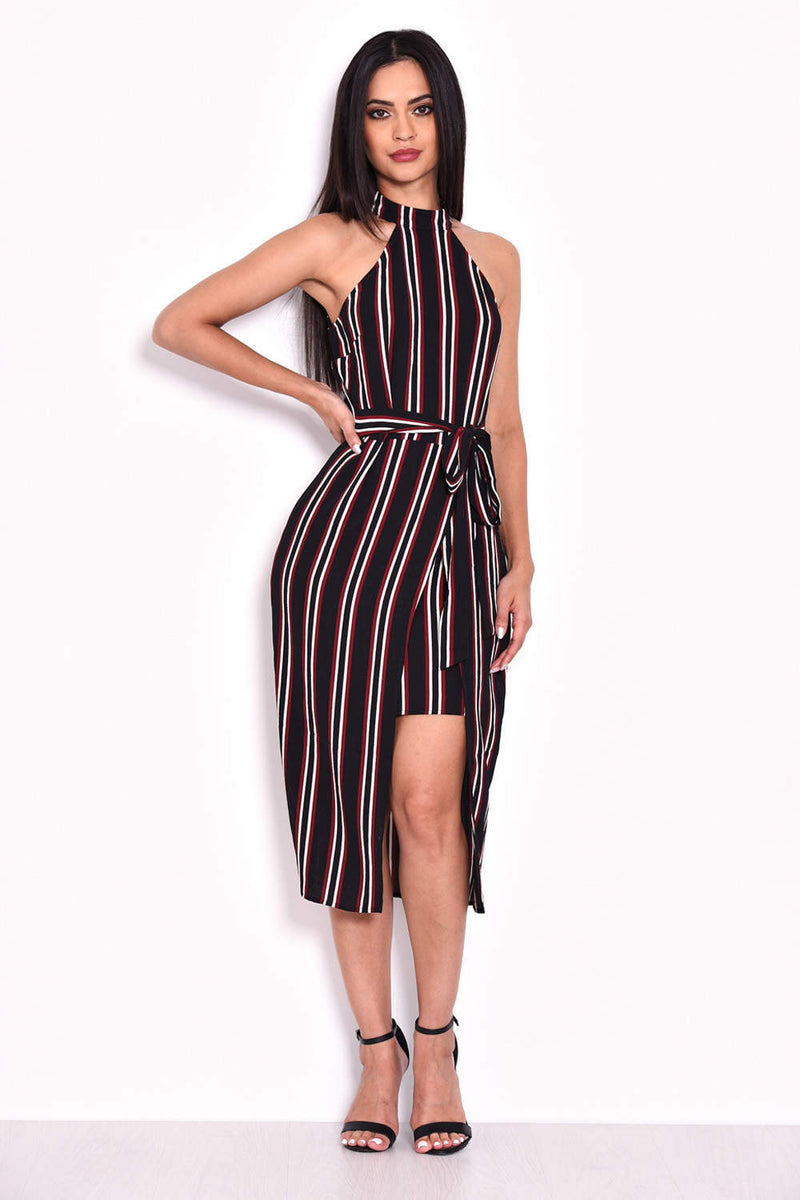 Black Striped Cut In Neck Dress