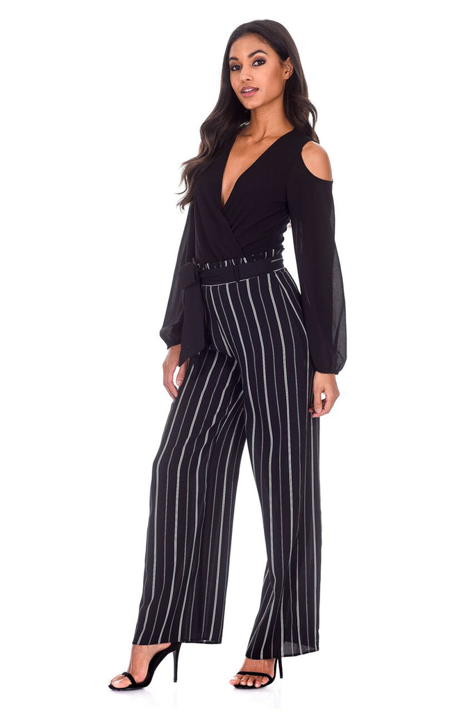 Black Striped Flared Trousers