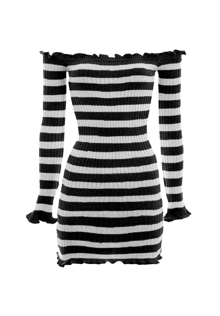 Black Striped Off The Shoulder Knit Dress
