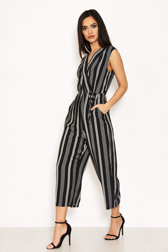 Black Striped Tie Waist Jumpsuit