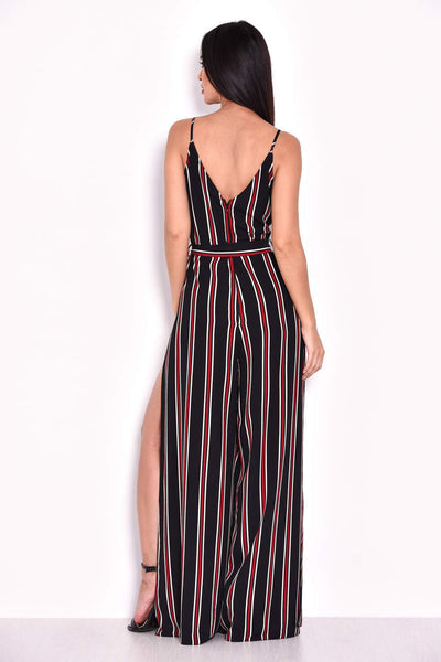 Black Striped Tie Waist Split Leg Jumpsuit
