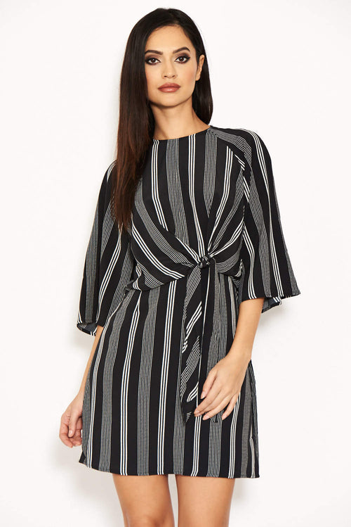 Black Striped Wrap Mini Dress With Tie Front