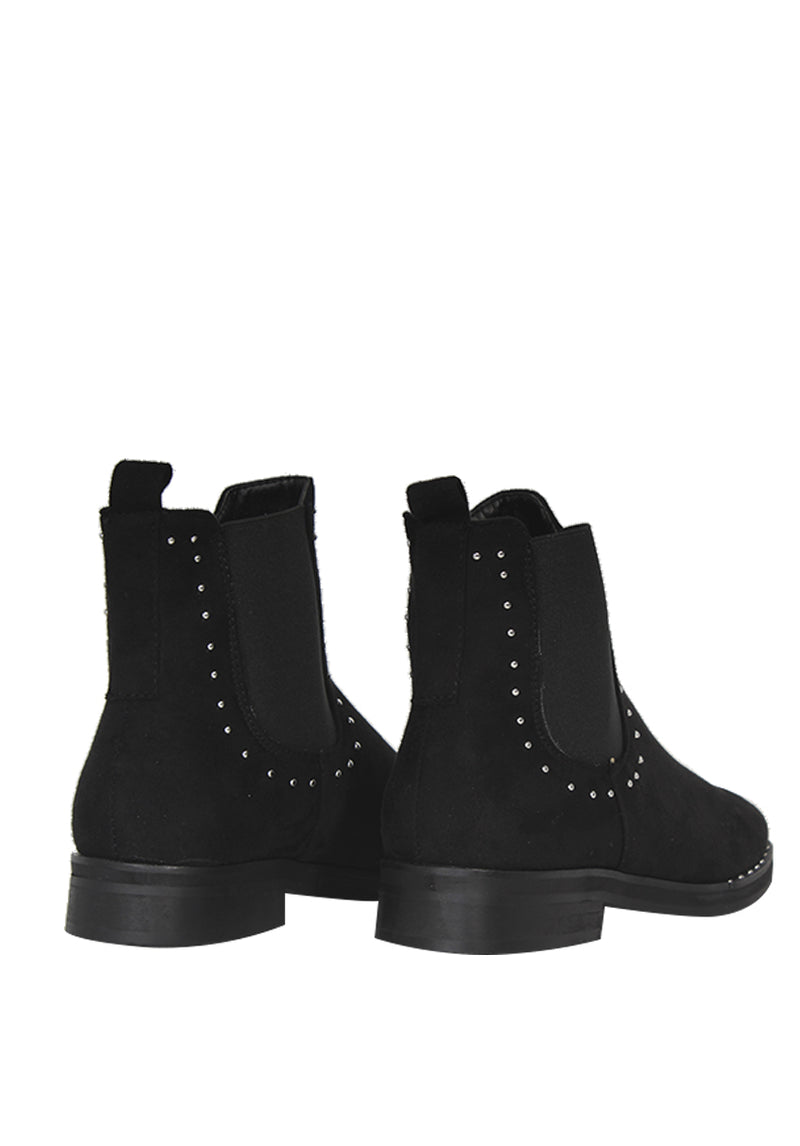 Black Stud Detail Ankle Boots