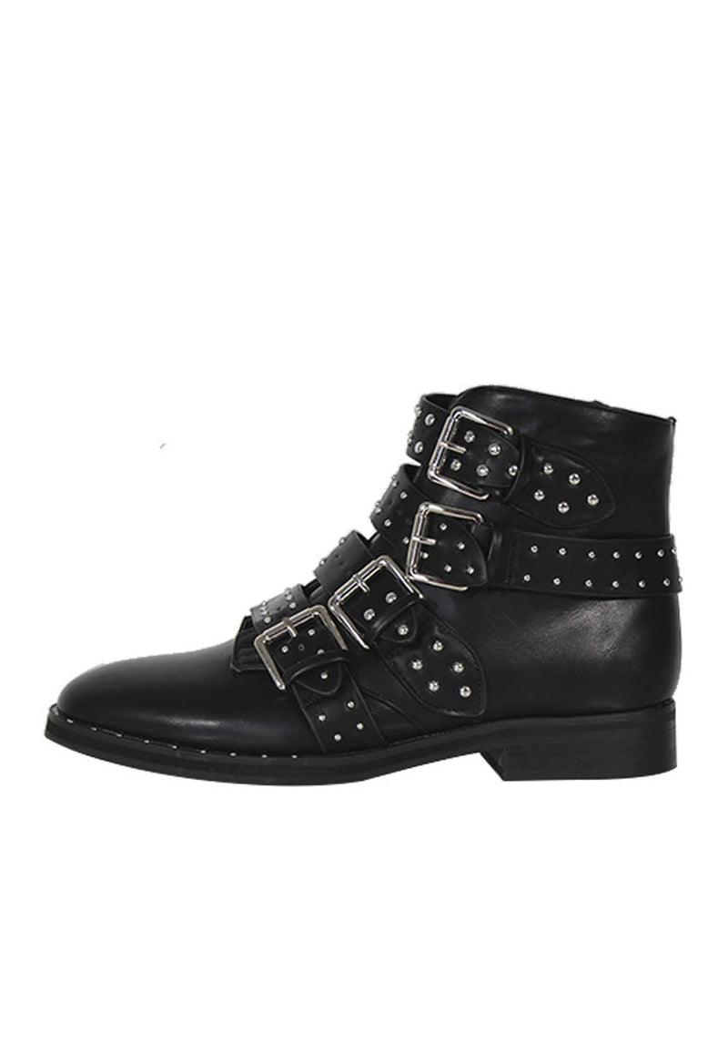 Black Studded Buckle Ankle Boots