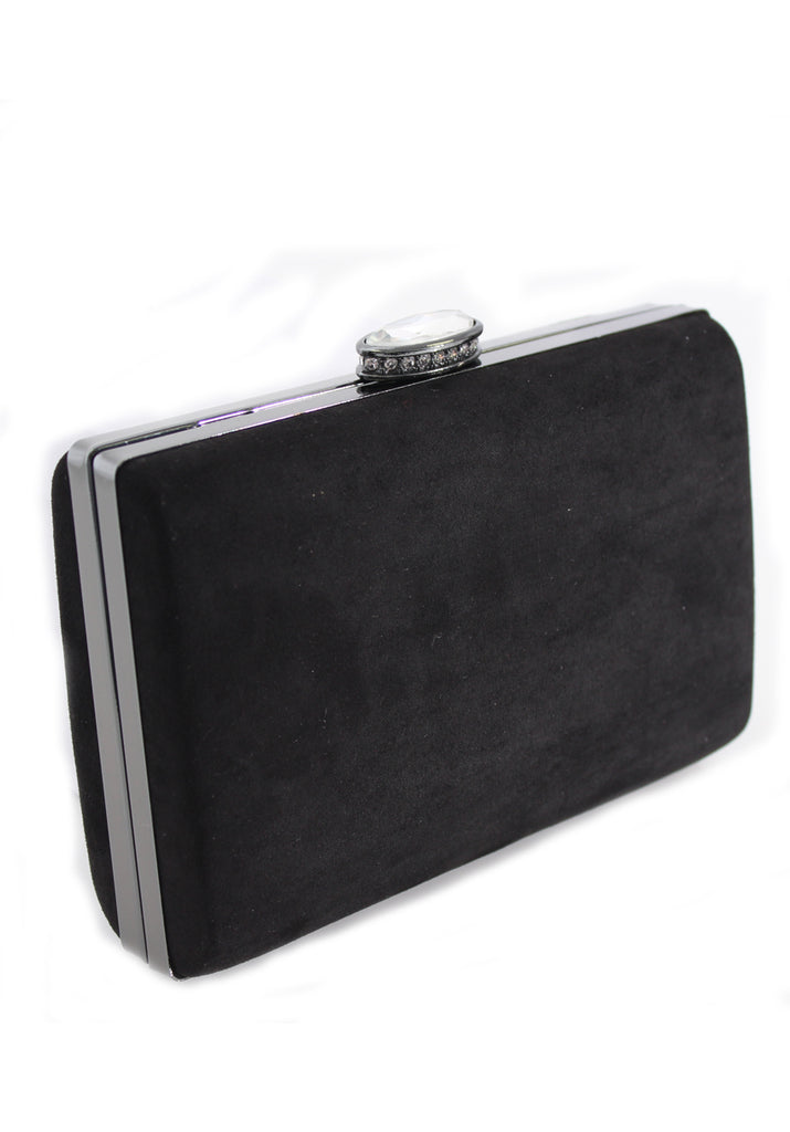 Black Suede Box Clutch with Jewel Clasp