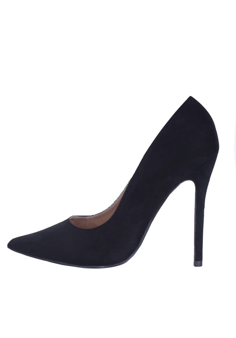 Black Suede Court Heel