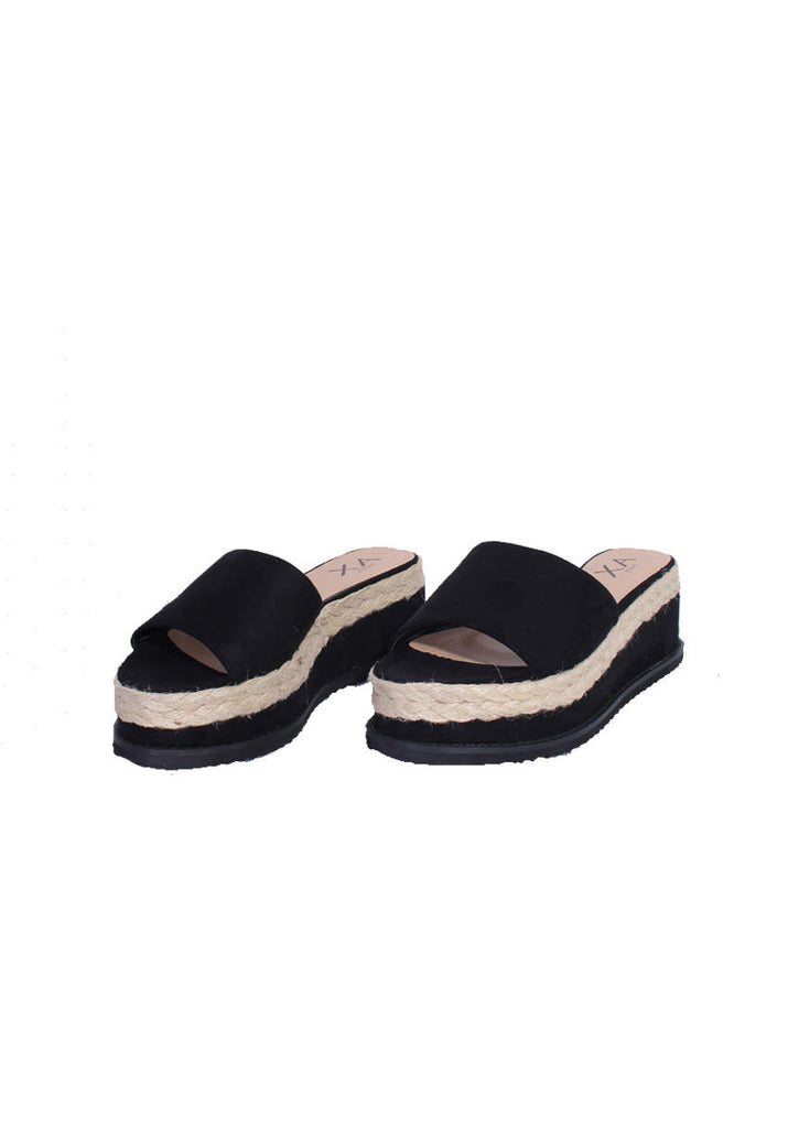 Black Suede Platform Slip On Sandals
