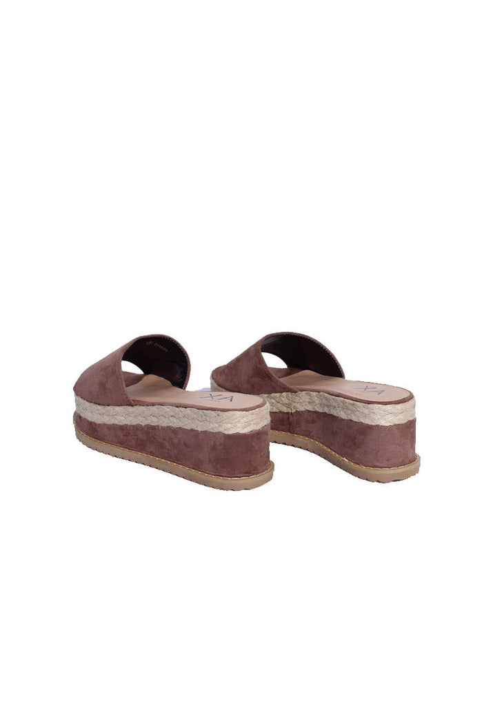 Mocha Suede Platform Slip On Sandals