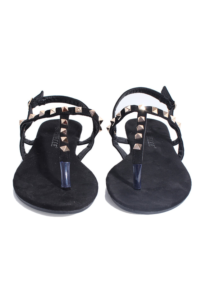 Black T-bar Sandals With Gold Studs