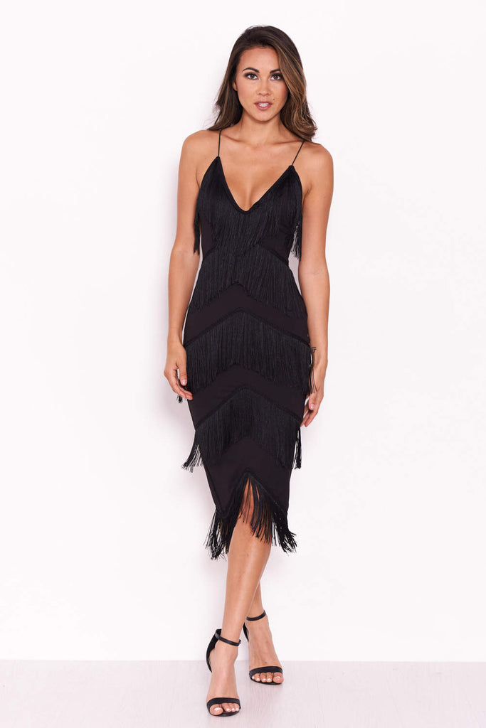 Black Tassel V Neck Midi Dress
