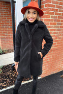 Black Teddy Faux Fur Coat With Collar