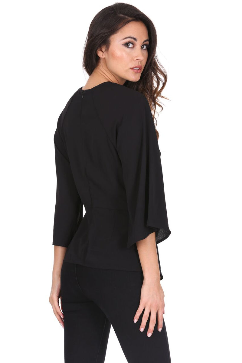 Black Tie Waist Flared Sleeve Top
