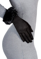 Black Touch Screen Gloves with Fur Detail