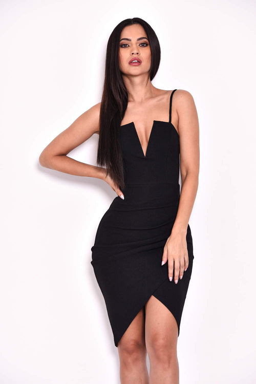 Black V Front Strappy Bodycon Dress