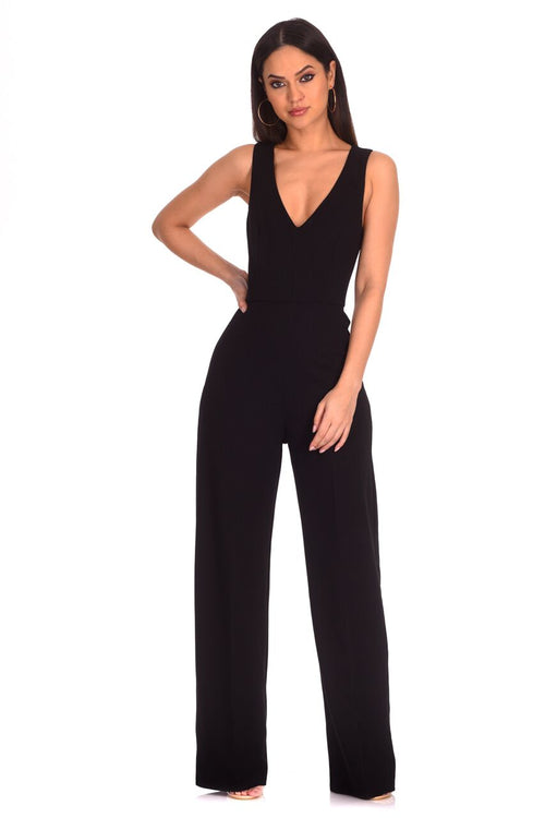Black V Neck Jumpsuit