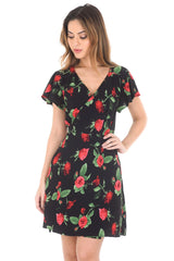 Black V-neck Wrap Front Floral Dress