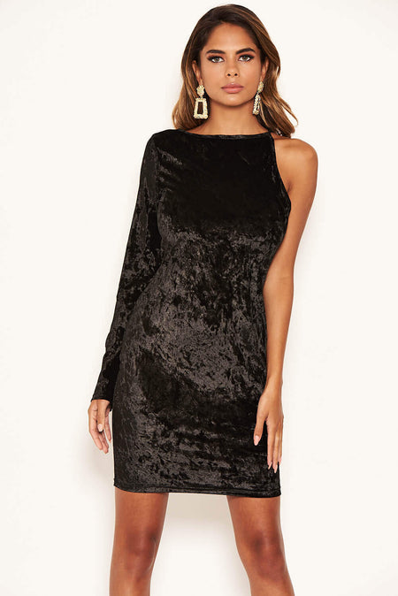 Black Sparkle Split Sleeve Bodycon Dress