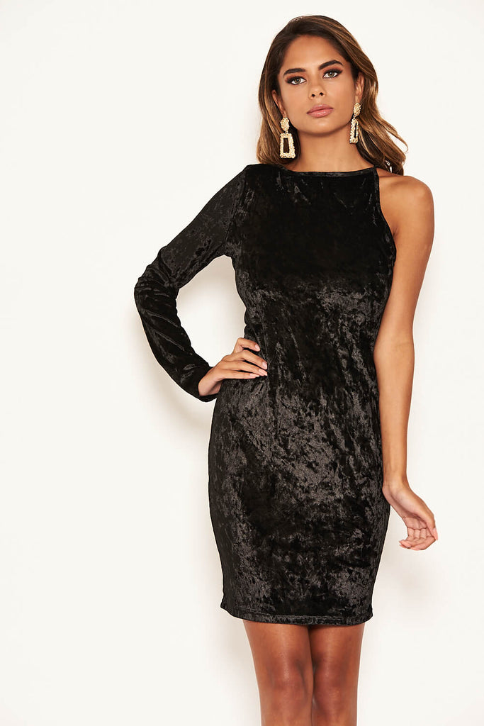 Black Velvet One Sleeve Bodycon Dress