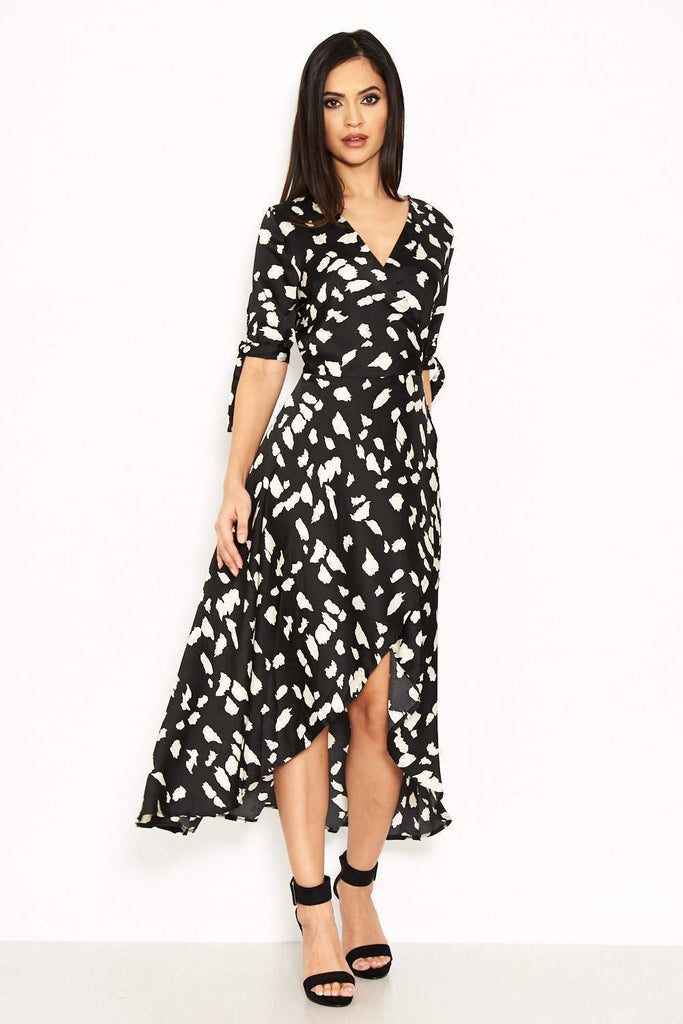 Black Wrap Around Print Maxi Dress