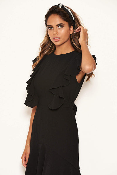 Black Wrap Frill Detail Dress