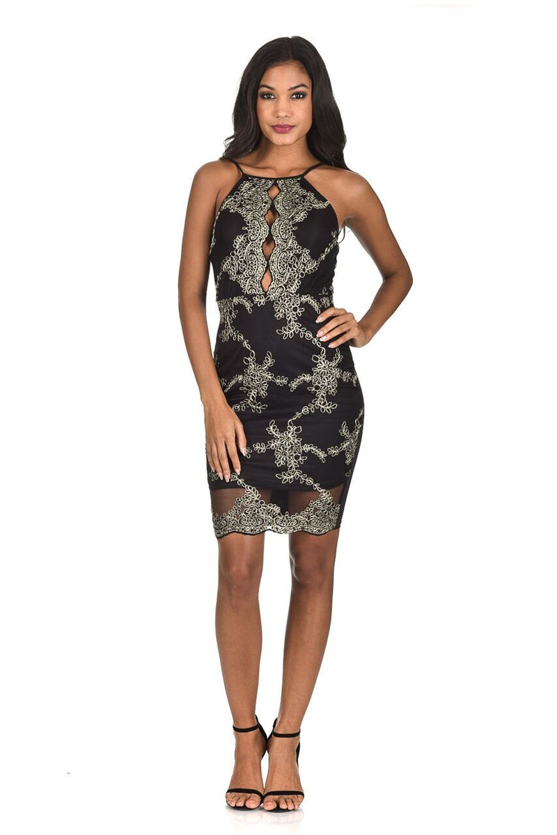 Cheap black and gold bodycon dress up tops with three