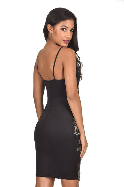 Black and Gold Embroidered High neck Bodycon Dress