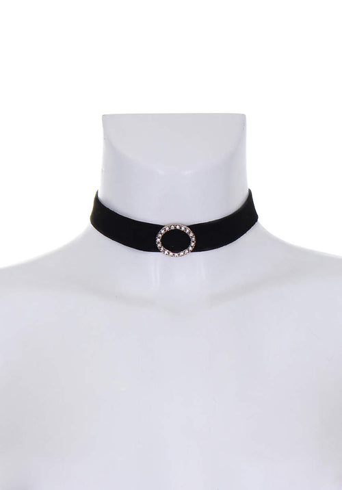 Black and Gold Suede Diamante Choker