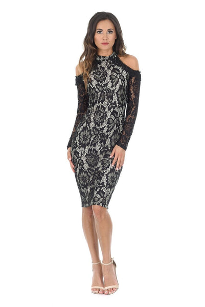 Black and Nude Midi High Neck Lace Dress