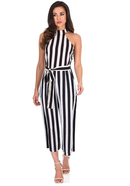 Black and White Stripped Cut in Neck Jumpsuit