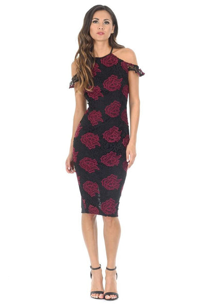 Black and Wine Embroidered Frill Midi Dress